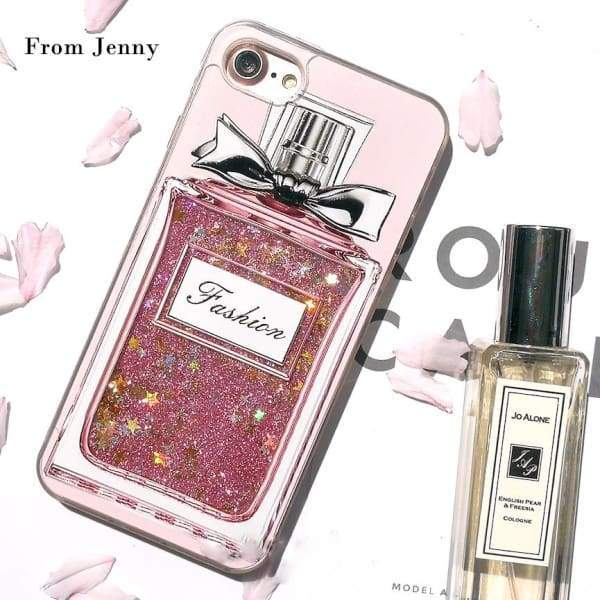 Fashion Bling Liquid Quicksand Perfume bottles Case for Apple iPhone Capas Covers
