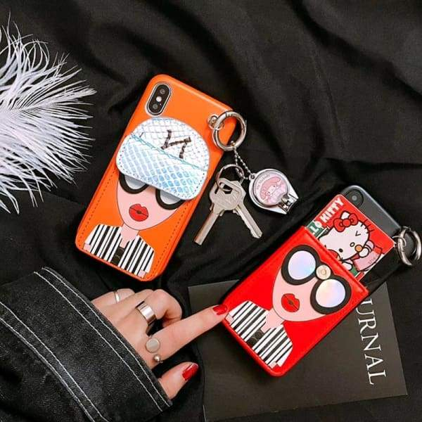 Fashion Brand Design Cute Korean Glasses Red Lips Girl Silicone Cases iPhone Phone