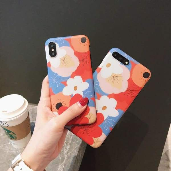 Fashion Colorful Flower Phone Case iphone 7 8 6 6s plus X Cases