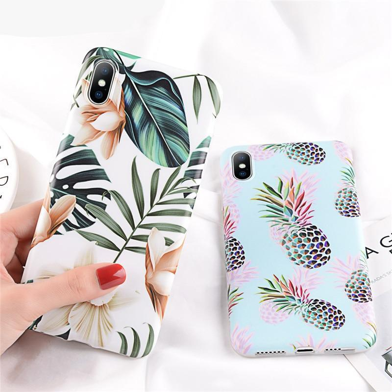 Fashion Cute Cartoon Pineapple Leaf Design Soft Phone Case For iPhone Cases