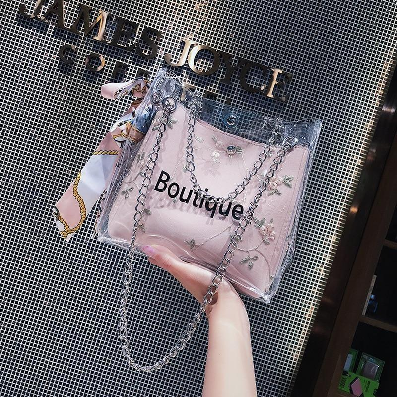 Fashion Embroidery Flower Handbag Jelly Transparent Bag Bags