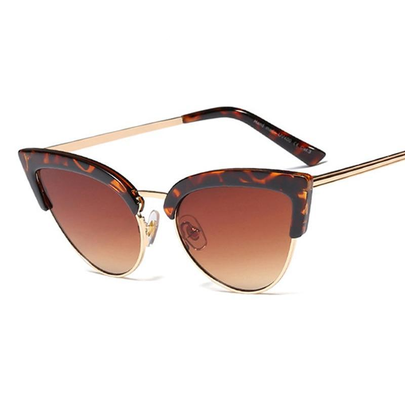 Fashion Gradient Retro Half Frame Women Cat Eye Sunglasses