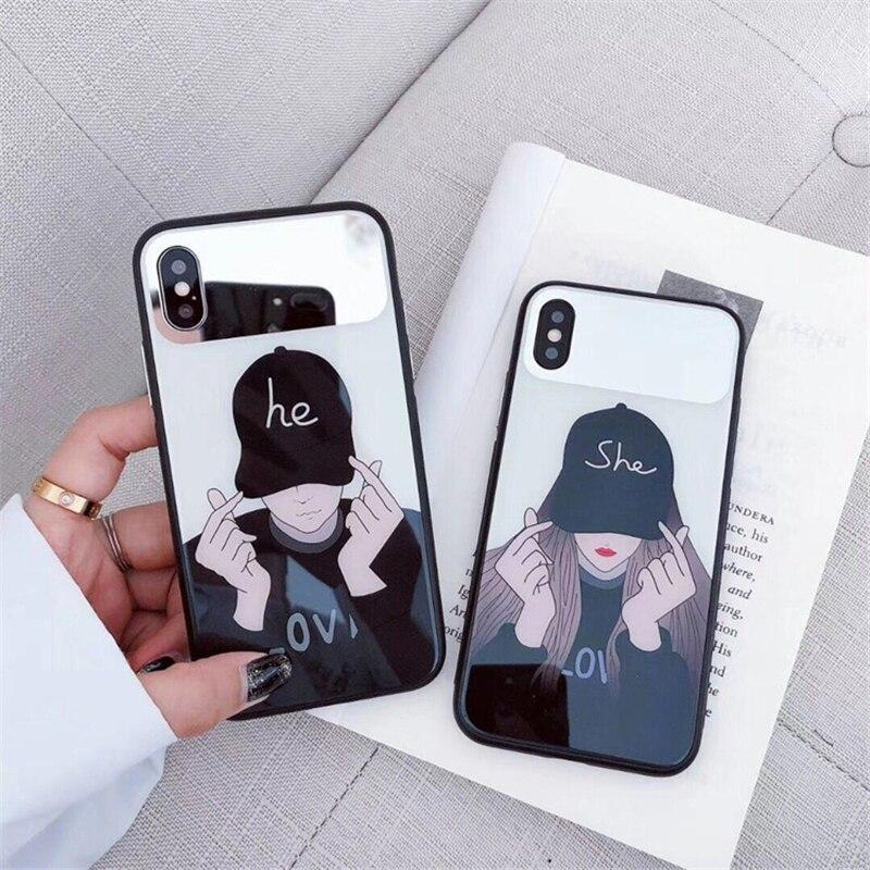 Fashion Mirror Phone Case Lovers Tempered Glass iPhone Cases