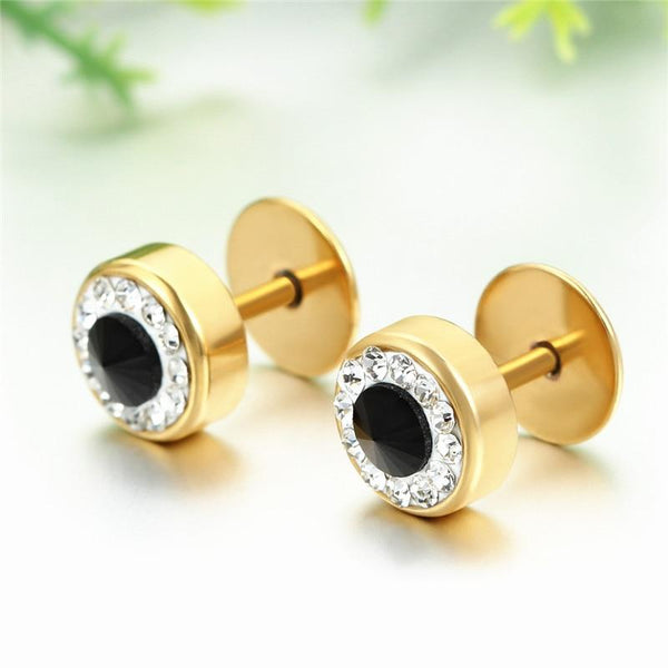 Fashion New Mens Titanium Crystal Gold/Silver/Black Earrings