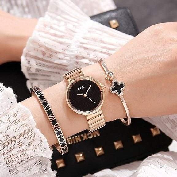 Fashion Rose Gold Silver Women Watches and Bracelet Set Gift Watch