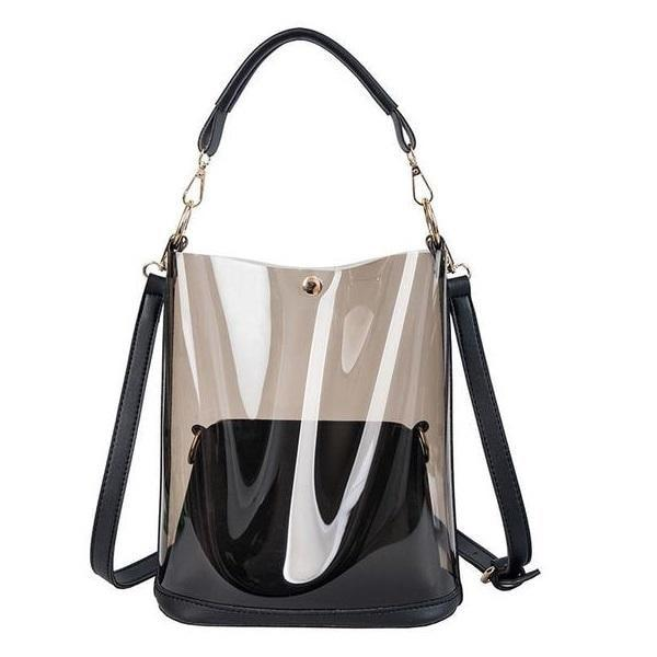 Fashion Summer Beach Bag Black Transparent Shoulder Bags
