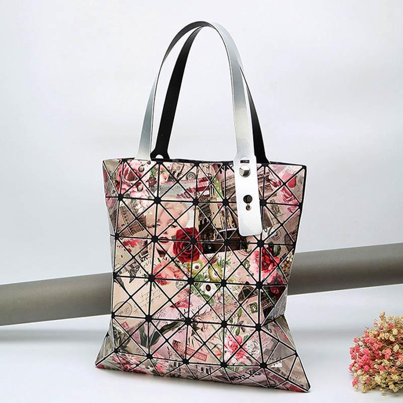 Fashion Women Prismatic Diamond Glossy Bags Casual Tote