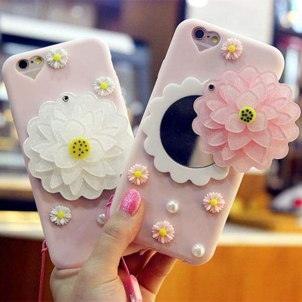 Flower Mirror iPhone 7 8plus 6s X XS MAX XR Cell Phone Case Cases