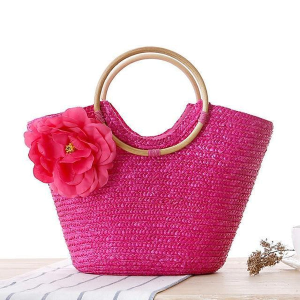 Flower Summer Beach Bag Bohemian Lady Straw Bags