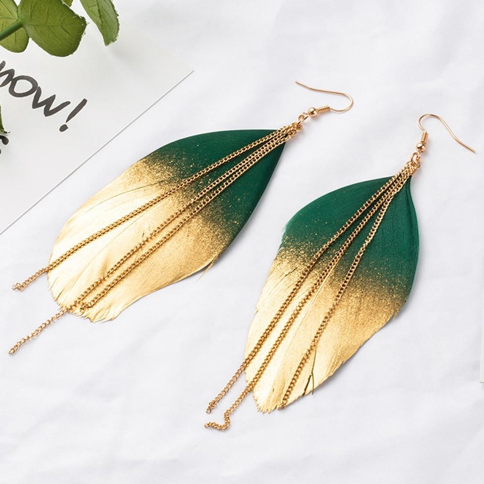 Fluorescent Double Color Exotic Tassel Feather Dangle Earrings