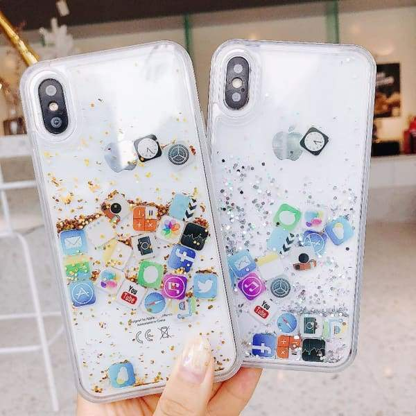 Funny iPhone Icons Dynamic Liquid Quicksand Transparent iPhone Cases  This clear and cute protective case is filled with shimmering glitter flakes and decorated with Instagram, Facebook, Youtube iPhone icons. They flow in the case when shaking or placing your phone at different angle. These cool and trendy Emoji cover add much fun and vitality to daily life.