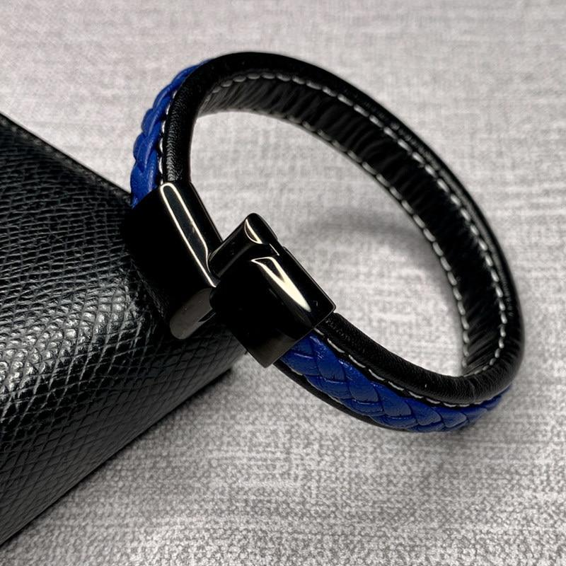Genuine Leather Cross Braided Magnetic Buckle Men Bracelets