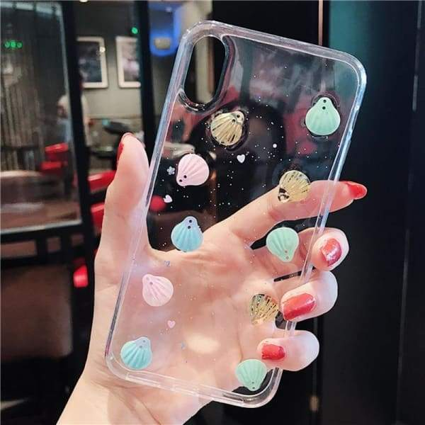 Glitter Laser Shell Cell Phone Case Transparent iPhone Cases