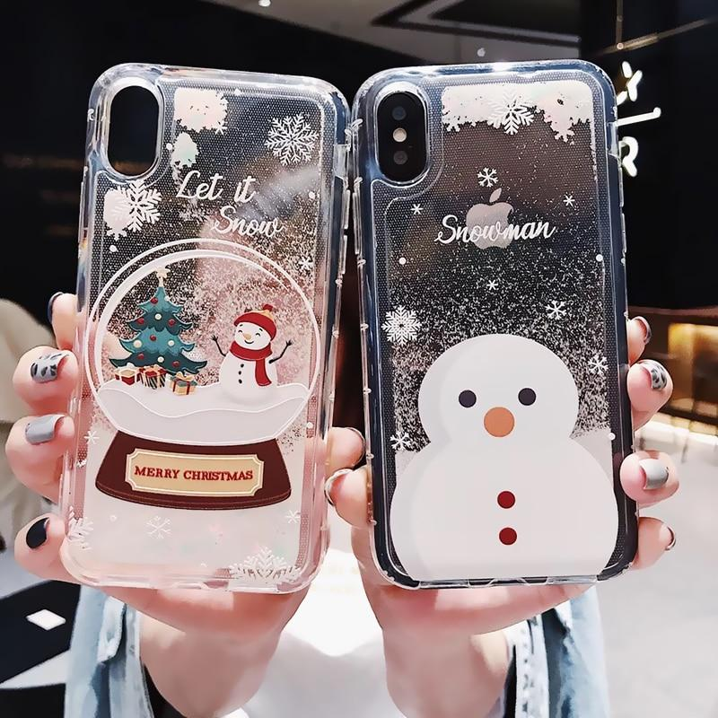 Glitter Liquid Christmas Case iphone Dynamic Quicksand Phone Cases LABONNI