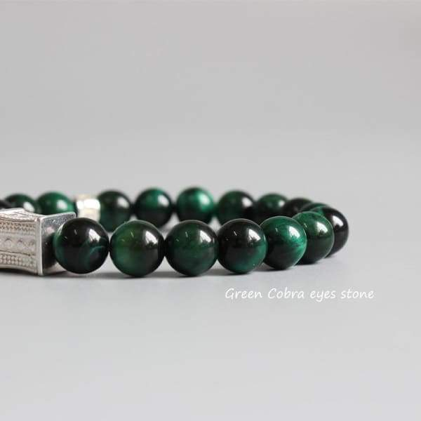 Green Cobra Eye Stone Bead Bracelet Yoga Meditation Jewelry Bracelets