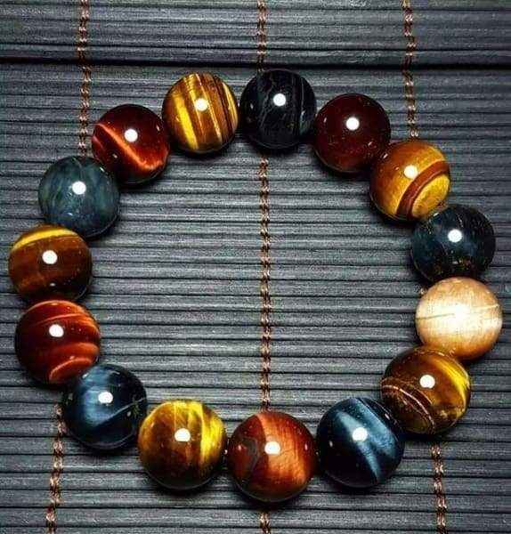 Natural Tiger Eye 14mm Beads Multi Color Stone Bracelet Bracelets