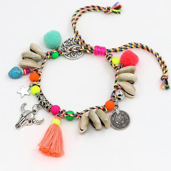 Handmade Women Boho Foot Jewelry Beach Tassel Shell Anklets