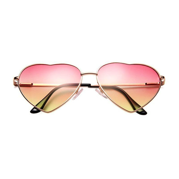 Heart Shaped Metal Frame Reflective Lens Sunglasses