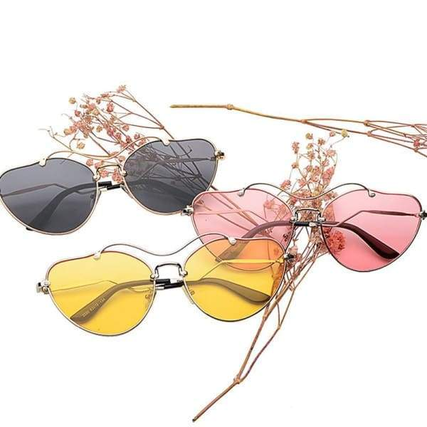 Heart Shaped Solar metal reflective lens Sunglasses