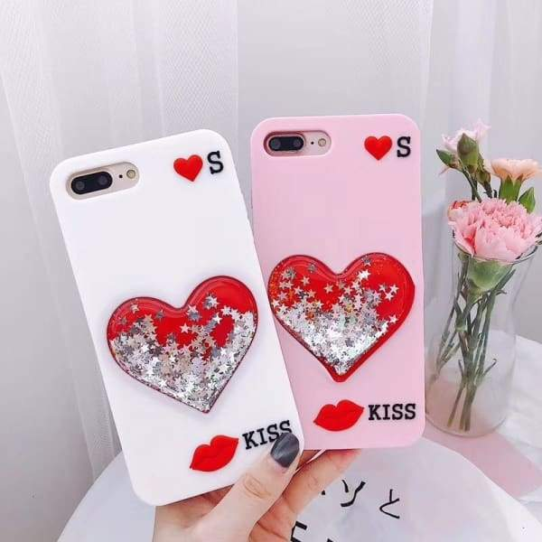 IPhone 7 8 6 6s Plus X Liquid Love Heart Cell Phone Cases
