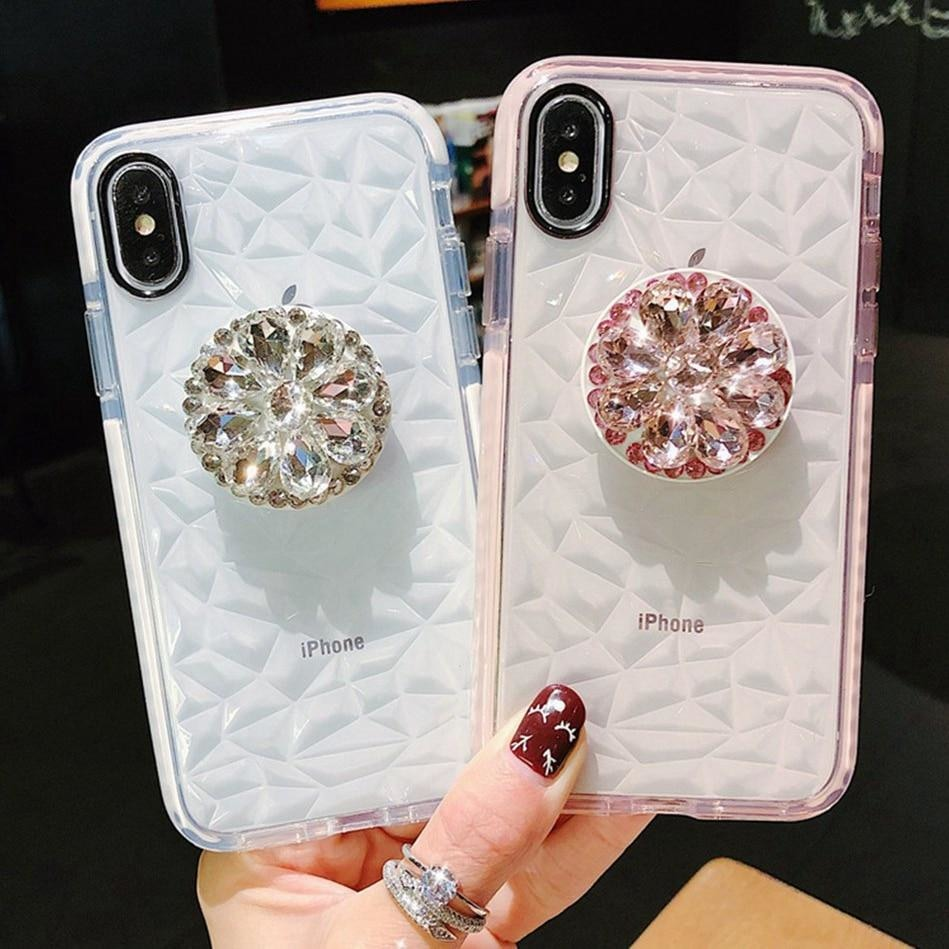 IPhone Luxury Crystal Diamond Stand Lanyard Transparent Case Phone Cases