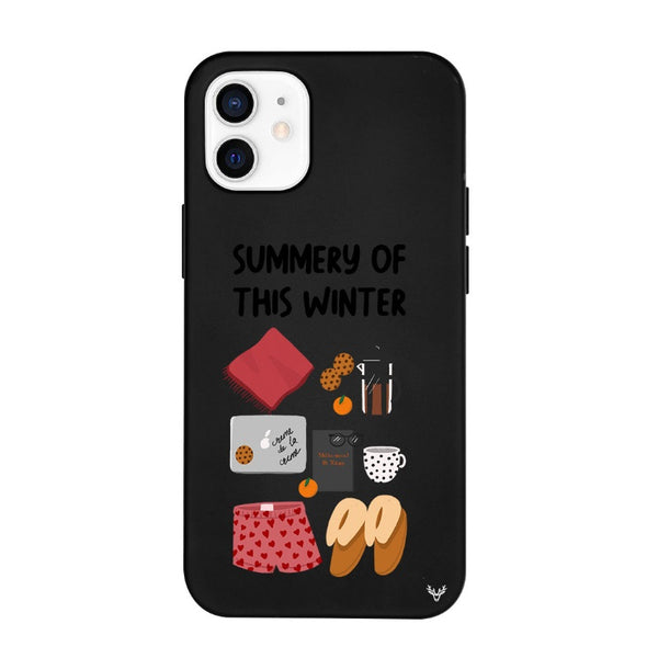 Silicone Phone Cover / Winter Summary Cute black iPhone Case