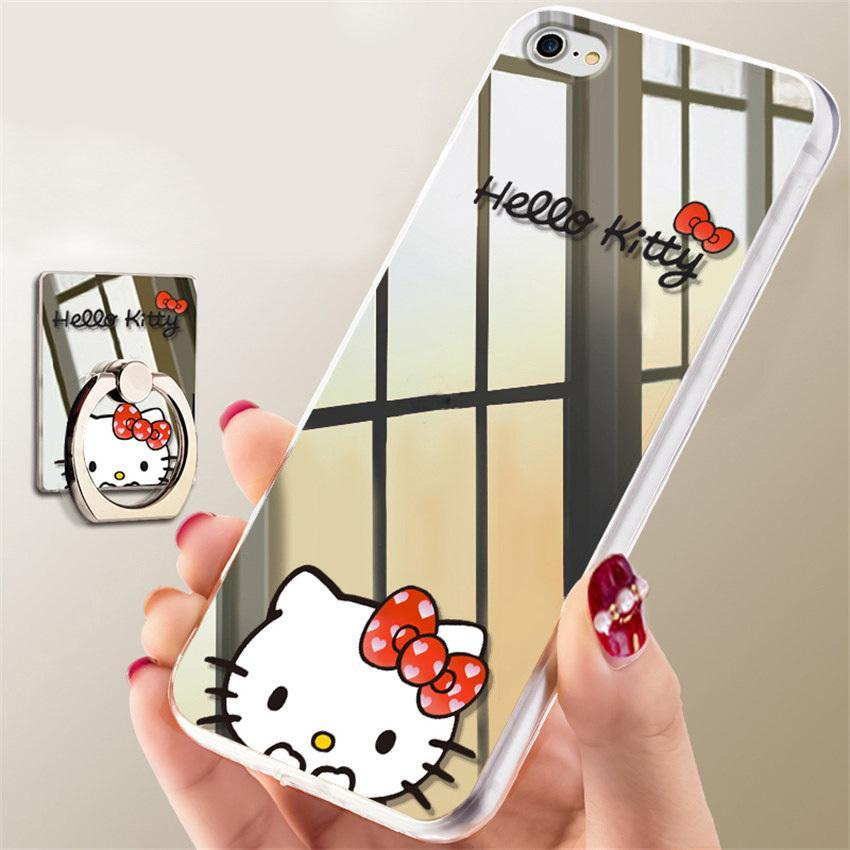 Kitty Minnie Mickey Phone Case Mirror Ring Holder iPhone Cover Cases