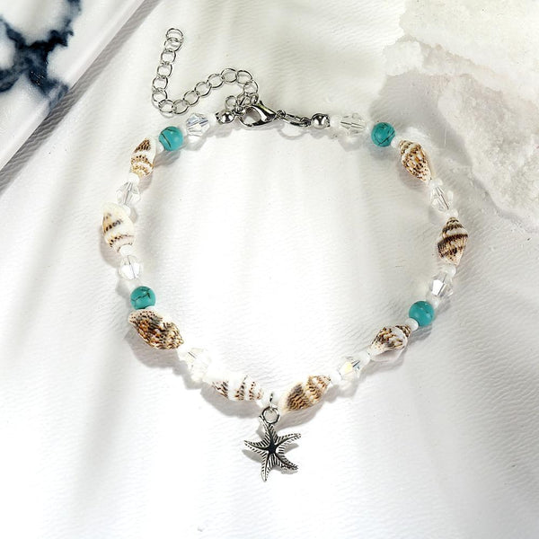 Ladies Romantic Beach Anklet Shell Blue Bead Cute Anklets