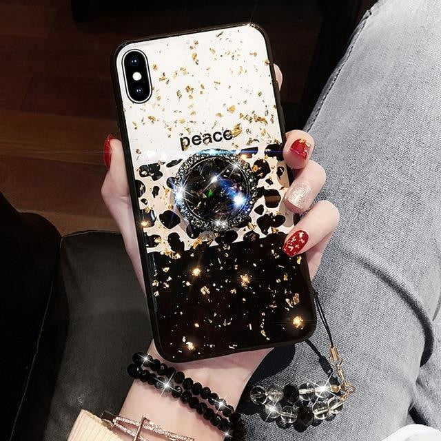 Leopard Print Luxury Phone Case Full Drill Bracket for iPhone Cases