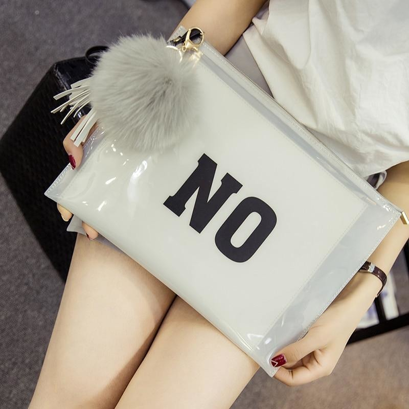 Letters Printed Tassel Ball Ornaments Transparent Clutch Bag Bags