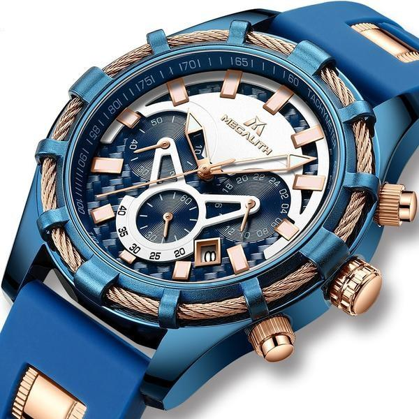 Luxury Brand Waterproof Silicone Strap Chronograph Men Watches Watch