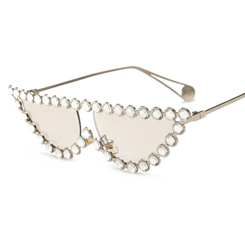 Luxury Crystal Rhinestone Cat Eye Sunglasses Women Fashion