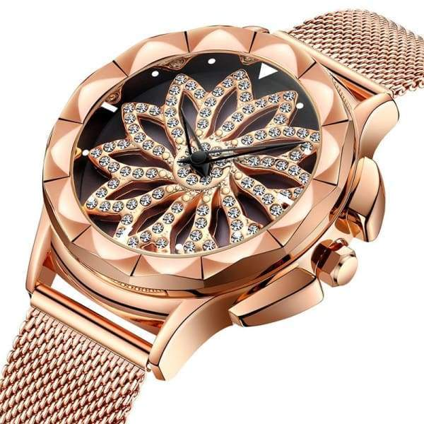 Luxury Crystal Rhinestone Rotating Flower Design Women Watch