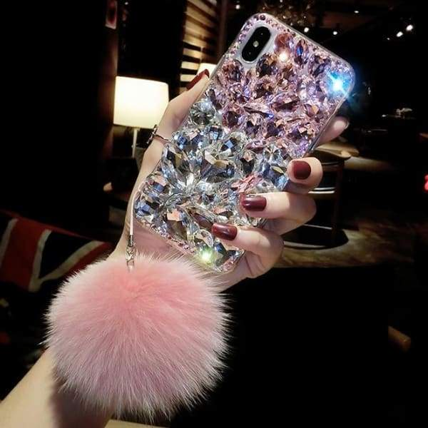 Luxury Fashion Bling Crystal Diamond Case Cover With Fox Fur Ball Pendant For iphone Phone Cases