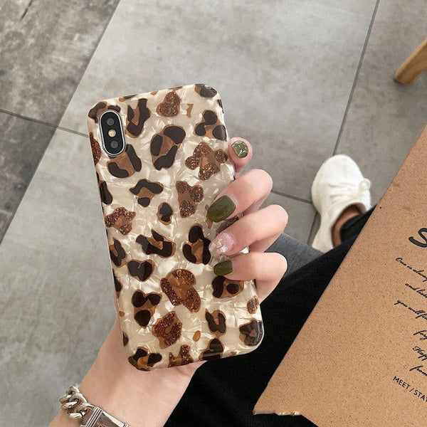 Luxury Glossy Shell Leopard Print Cell Phone Case For iphone Cases