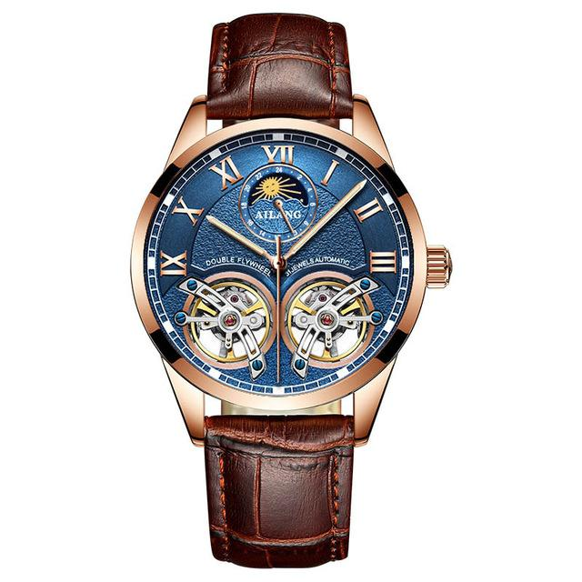 Luxury Latest Design Watch Mens Double Flywheel Automatic Mechanical Watches