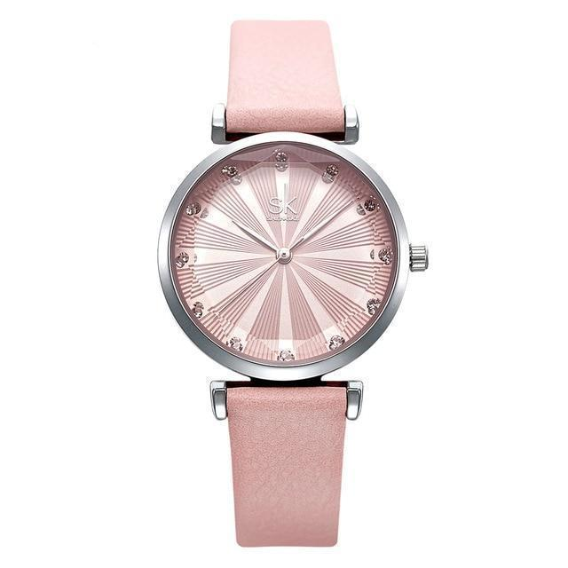 Luxury Leather Watch For Women Fashion Diamond Reloj Mujer
