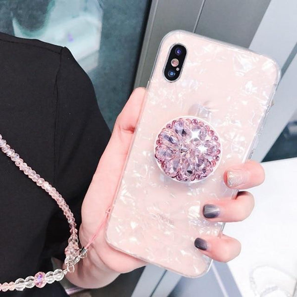 Luxury Marble Conch Shell Cover For iPhone With Crystal Lanyard Stand Phone Cases