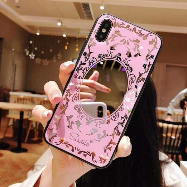 Luxury Pink Black Flower Mirror Tempered Glass Phone Case Cases
