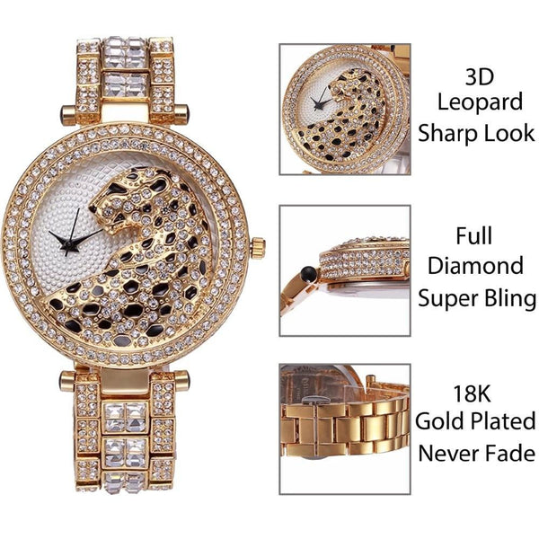 Luxury Quartz Crystal Diamond Leopard Women Gold Watch