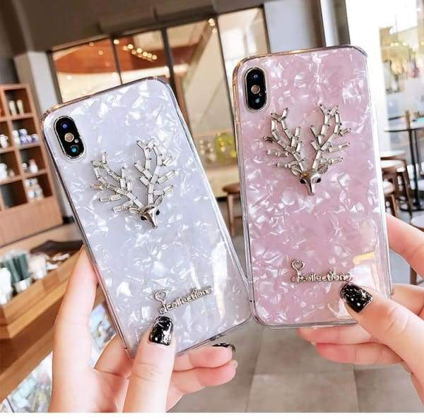 Luxury Rhinestone Deer Shell Phone Case For iPhone Cases