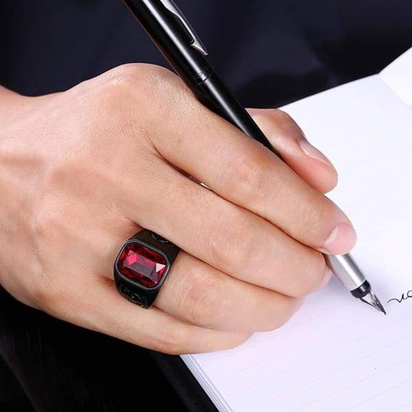 Men Black Stainless Steel Big Statement Geometry Red Stone Ring