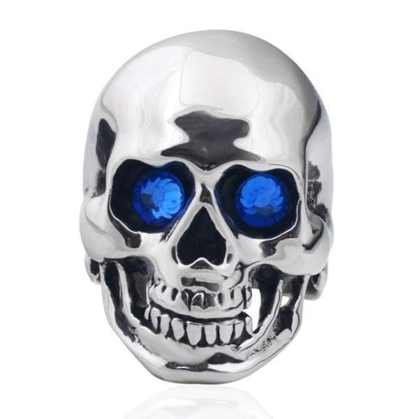 Mens Skull Ring Gothic Punk Biker Rider Red/Blue Eyes Stainless Steel Rings
