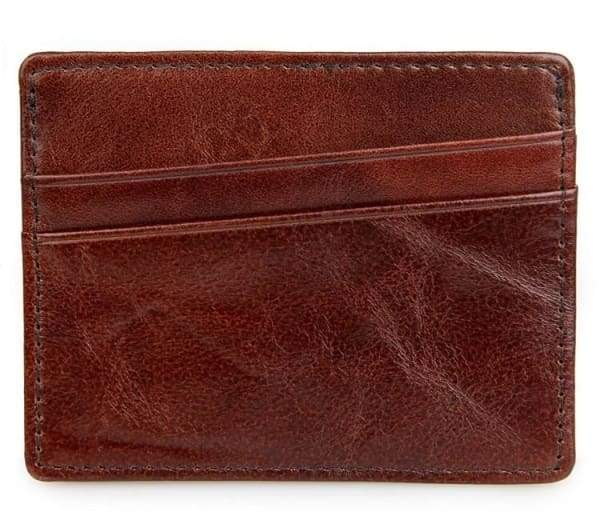 Mens Credit Card Holder Rights Leather Mini Wallet