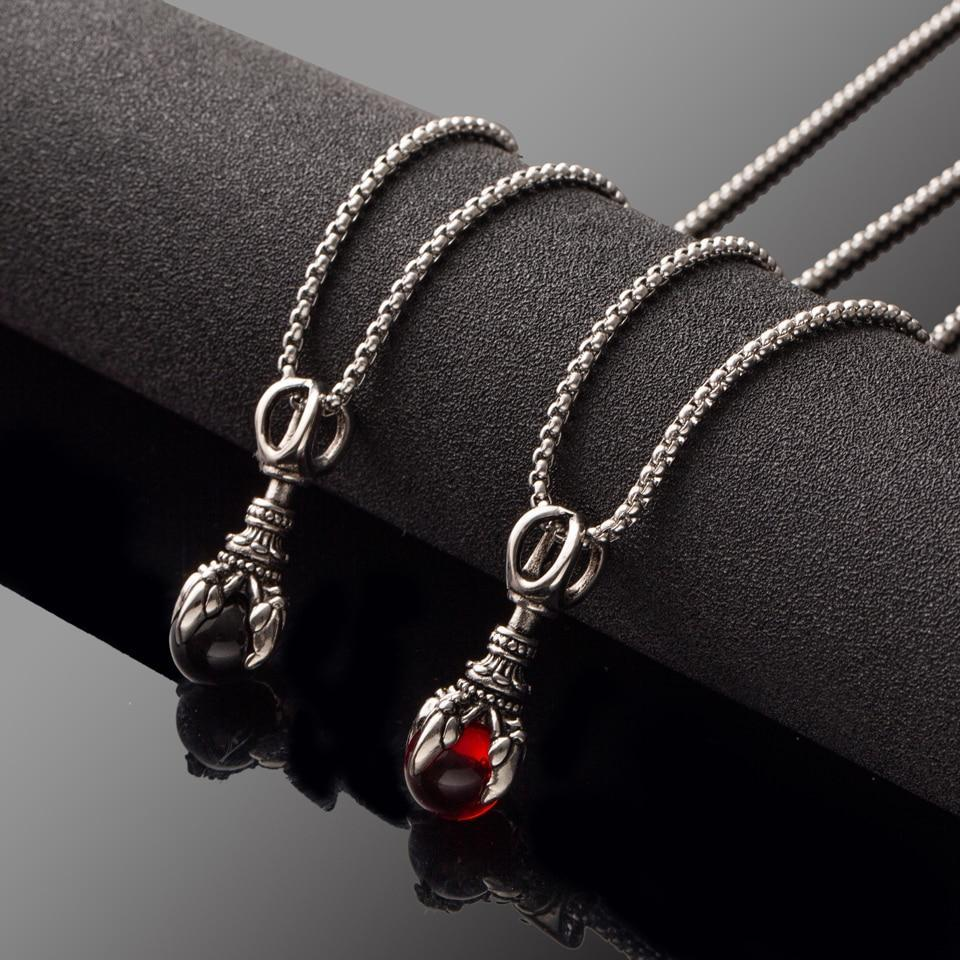 Mens Stainless Steel Chain Black Red Gem Pendant Titanium Punk Necklace