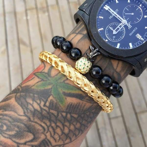 Mens Stainless Steel Luxury Gold Silver Color Bracelets Bangles Titanium Jewelry