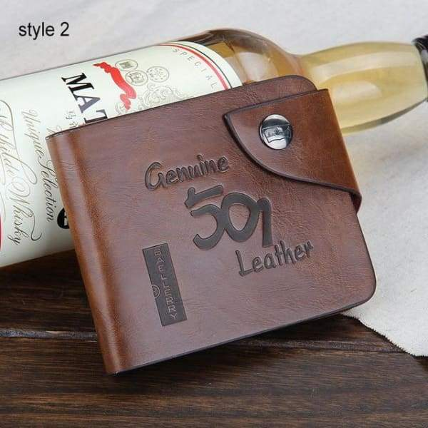 Mens Vintage Genuine Cow Leather Slim Wallet - Carteira Masculina