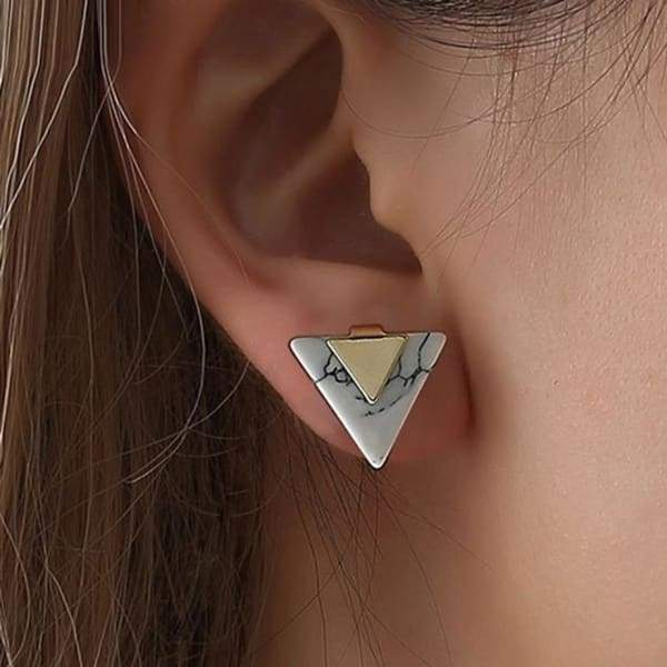 Minimalist Geometric Triangle Marble Stud Earring Earrings