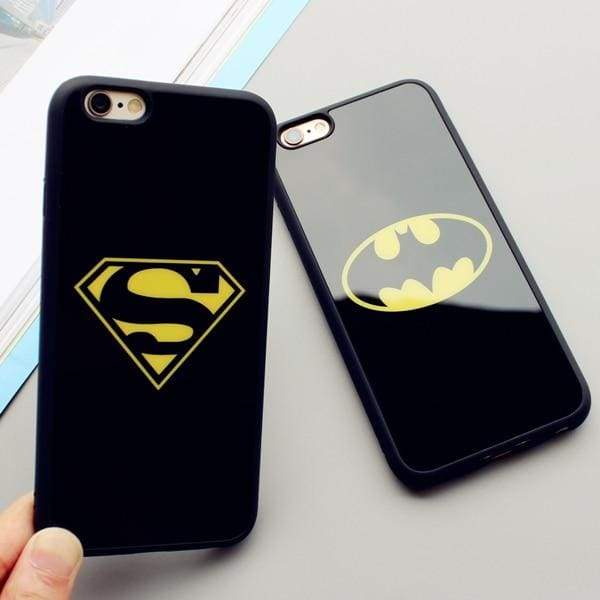 Mirror Cartoon Batman Superman Phone Case For iPhone Cases