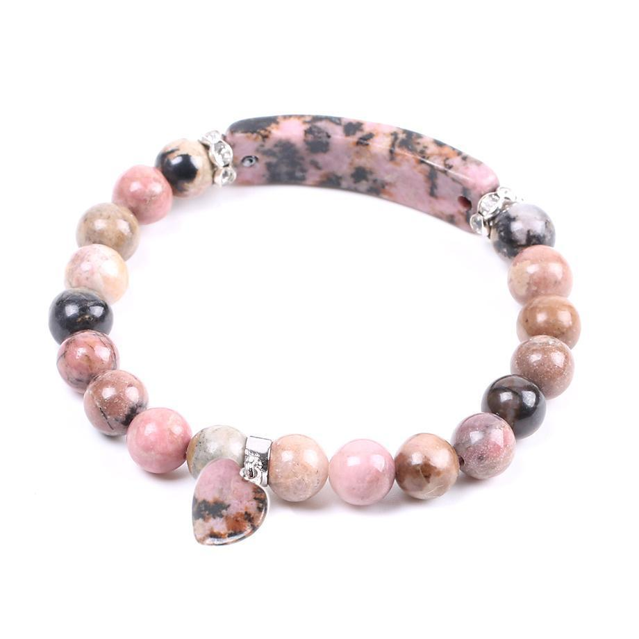 Natural Gemstone Bangles Line Rhodonite Love Heart Healing Beads Bracelets